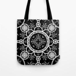 Scarab tile line pattern with black Background Tote Bag