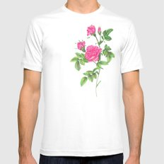 Ballpoint Pen, Redouté's Roses Mens Fitted Tee White MEDIUM