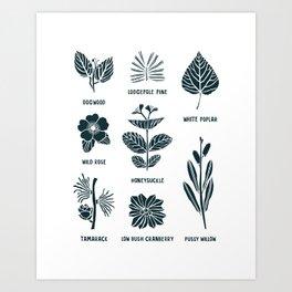 Shrubs & Trees // White & Navy Art Print