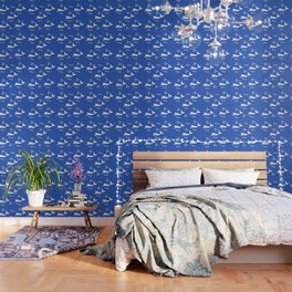 Mermaid Pattern Navy Blue Wallpaper