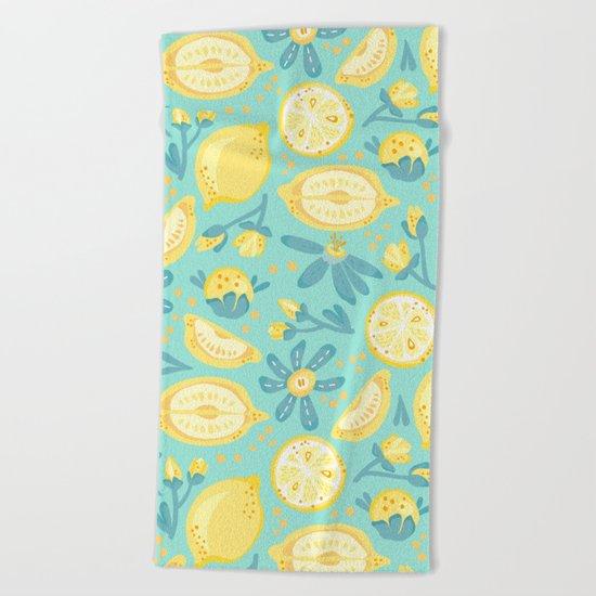 Lemon Pattern Mint Beach Towel