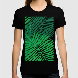 Modern Tropical Palm Leaves Painting black background T-shirt