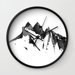 Mountain Painting | Landscape | Black and White Minimalism | By Magda Opoka Wall Clock