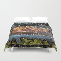 adventure is out there Duvet Covers featuring Adventure Is Out There by Jenndalyn