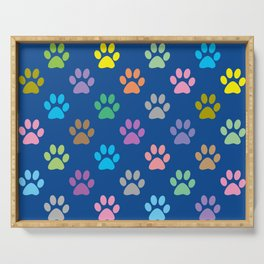 Colorful paw prints pattern Serving Tray