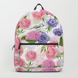 Tit bird and flowers Backpack
