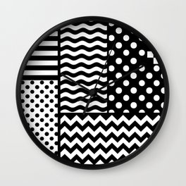 Mixed Patterns (Horizontal Stripes/Polka Dots/Wavy Stripes/Chevron/Checker) Wall Clock