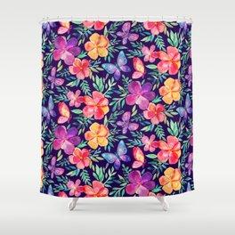 Summer Blooms & Butterflies on Dark Purple Shower Curtain