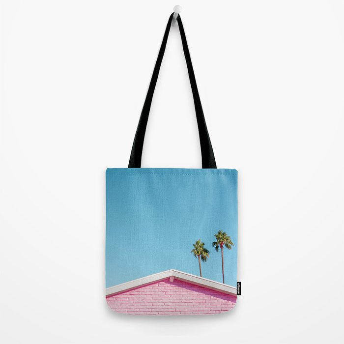 Pink House Roofline with Palm Trees (Palm Springs) Tote Bag