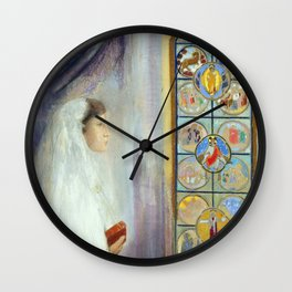 "Odilon Redon ""Portrait of Simone Fayet in Holy Communion"" Wall Clock"