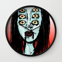 supreme Wall Clocks featuring succubus supreme by Creaturetown