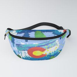 Watercolor Colorado mountains, trees and flag Light Blue Fanny Pack