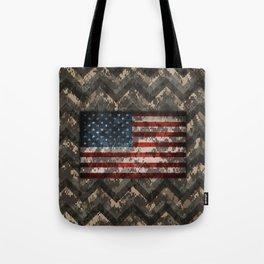 Digital Camo Patriotic Chevrons American Flag Tote Bag