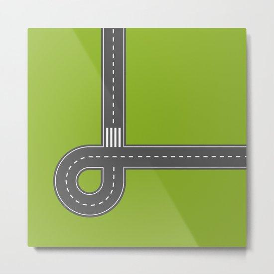 Road print. Green Metal Print