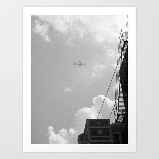 Leaving On A Jet Plane ~ black and white Art Print