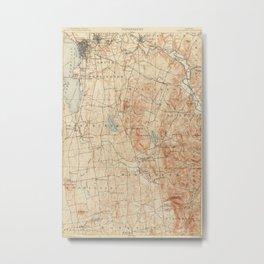 Vintage Burlington Vermont Topographic Map (1904) Metal Print