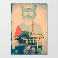 brown Canvas Prints featuring Cool Cat by Ali GULEC