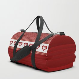 Decorative Quilted Heart Ribbon Multi Pattern Design Duffle Bag