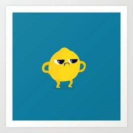Grumpy Sour Lemon Art Print