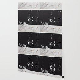 White Glitter Marble & Black Marble #1 #decor #art #society6 Wallpaper