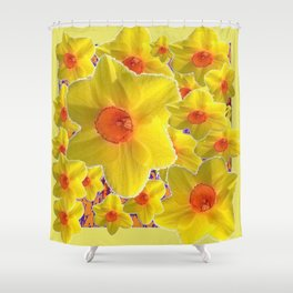 YELLOW-GOLD DAFFODILS FLOWER COLLAGE Shower Curtain