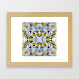 Bue Yellow Pastel Chrysanthemums Design Framed Art Print