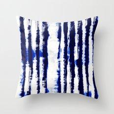 Tie-Dye Shibori Stripe Blue Throw Pillow