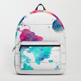 World Map Watercolor Paint on White Wood Backpack