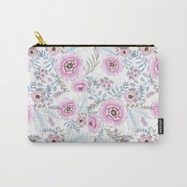Watercolor . Pink flowers . Carry-All Pouch