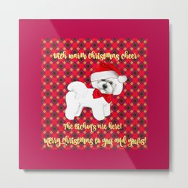 Bichon Frise red plaid christmas holiday themed pattern print pet friendly dog breed gifts Metal Print