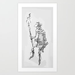 somedude_with_stick Art Print