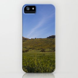 Green Fields Mountains and Blue Sky iPhone Case