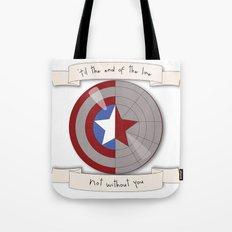 Steve Rogers and Bucky Barnes Shield Tote Bag