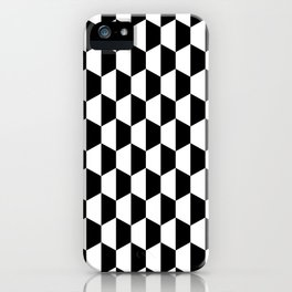 Black and white hexagons iPhone Case
