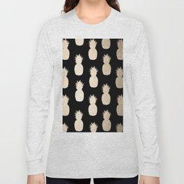 Gold Pineapples Pattern Black Long Sleeve T-shirt
