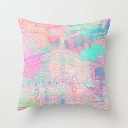 Totem Cabin Abstract - Pastel Throw Pillow