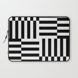 Geometrical abstract black white stripes pattern Laptop Sleeve
