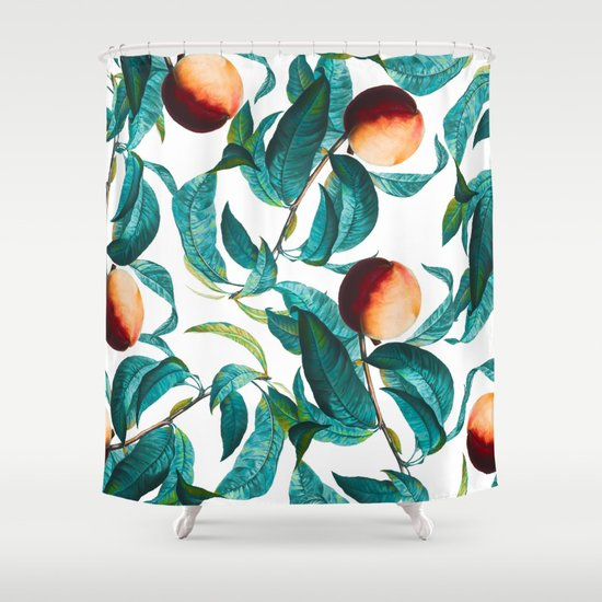 Fruit Pattern Kitchen Curtains: Fruit And Leaf Pattern Shower Curtain By Burcu