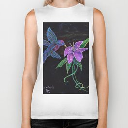 """Blue Hummingbird"" by KC Krimsin Biker Tank"