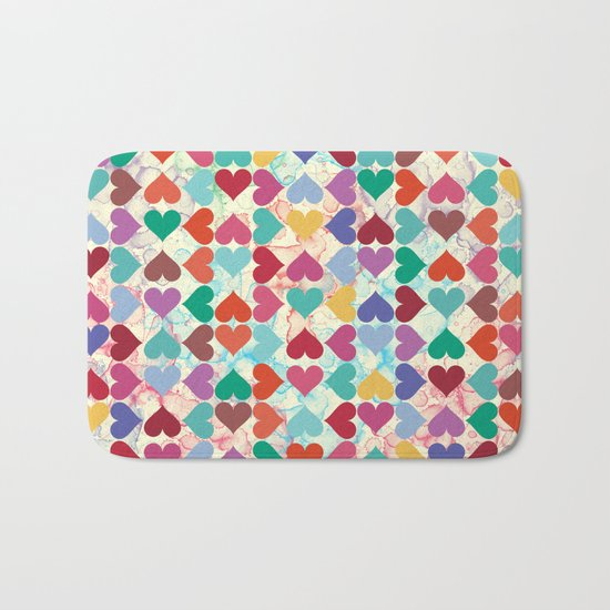 Colorful Love Pattern Bath Mat
