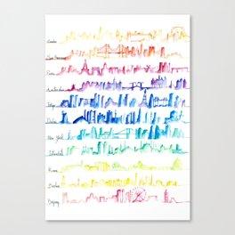 Skylines Across the World Canvas Print
