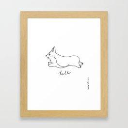 Pembroke Welsh Corgi - Hello Framed Art Print