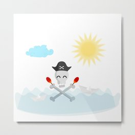 Cute Happy Pirate Skull With Maracas Metal Print