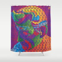 detroit Shower Curtains featuring Spirit Detroit by Rebecca Goldberg