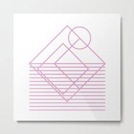 Goemetric sunset in pink Metal Print