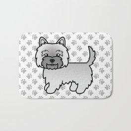 Cute Gray Cairn Terrier Dog Cartoon Illustration Bath Mat