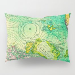 Colorful Map of the North Pole - Vintage Pillow Sham