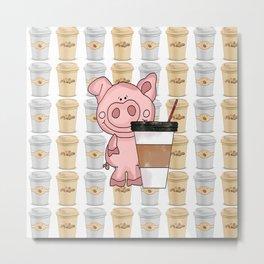 Mr Pig Loves His Coffee Metal Print