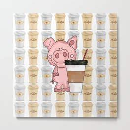 Mr Pig Loves His Coffee Metal Print