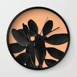 Black Pastel Orange Cacti Vibes #1 #plant #decor #art #society6 Wall Clock